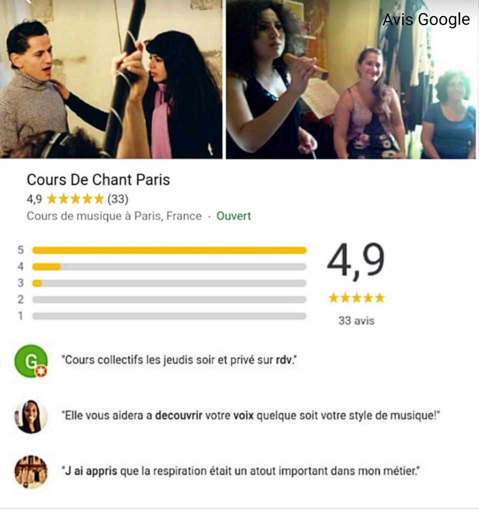 avis cours de chant paris marais